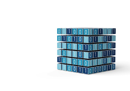 Internet digital big data management concept with cube colored with binary numbers isolated in white