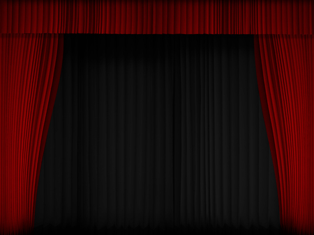 Background image Red Curtain Show Opening template for presentation title Stock Photo