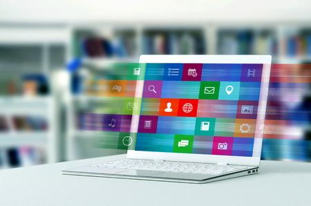 ラップトップ コンピュータは、インターネット上のアプリケーションとマルチメディア コンテンツを参照するプロセスを示しています。ミクストメディアの3Dレンダリングと写真。
