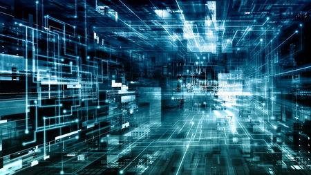 Fondo dell'illustrazione dell'estratto di tecnologia dell'informazione di Internet con il colore verde blu