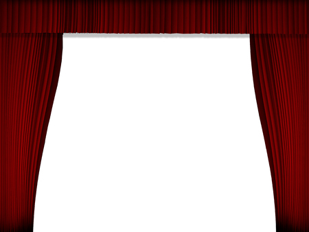Background image Red Curtain Show Opening template for presentation with with white background