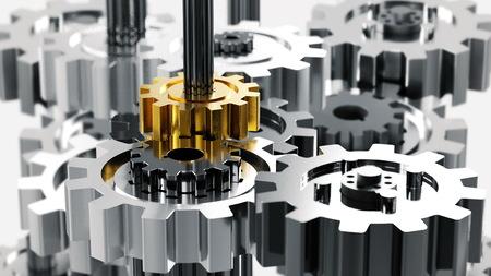 Mechanical design, machine engineering or leadership conceptual illustration. 3d Render. Foto de archivo