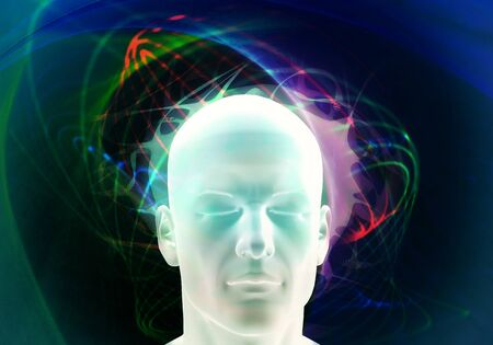 brainwave illustration of human mind. Psychology concept.
