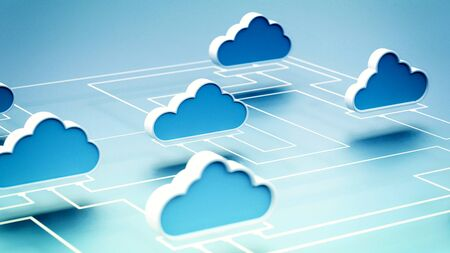 Cloud computing internet network information technology conceptual image. 3D Render.