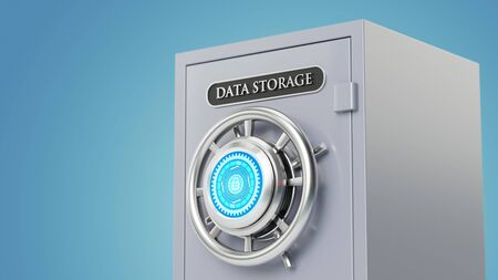 Conceptual image of secure data storage with encryption lock. Safe Deposit Cabinet 3D Rendering. Imagens