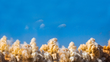 Detonator blasting on the construction site Stock Photo
