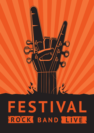 concierto de rock: Festival Rock. Cartel vector.