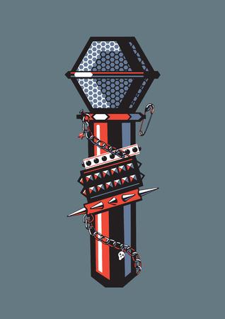 Rock Microphone. Microfoon met bezaaid armbanden, metalen ketting en andere rock sieraden.