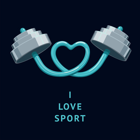 I Love Sport. The rod bent in the shape of a heart.