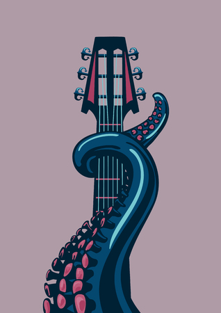 Octopus tentacle is holding a guitar riff. A template for music posters.