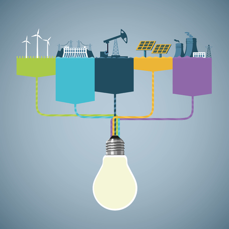 Stroomopwekking. Informatie ontwerp met verschillende types van elektriciteitscentrales. Info-graphics template.