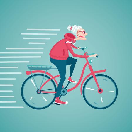 늙은 여자는 자전거를 타고있다. 만화 벡터 일러스트 레이 션. 캐릭터 디자인.