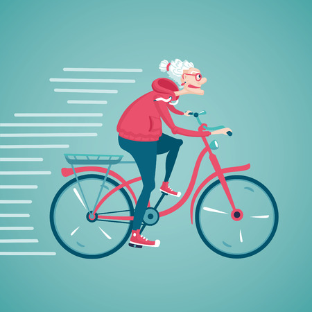 old people smiling: The old woman is riding a bicycle. Cartoon vector illustration. Character design.
