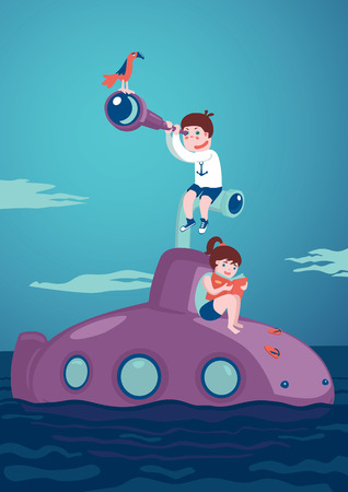 spyglass: Kids Journey and adventure. Girl with a book and boy with a telescope are siting on a submarine. Illustration