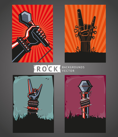 Rock backgrounds. Four templates for rock posters. Çizim