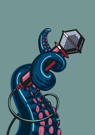 Octopus tentacle is holding a microphone.