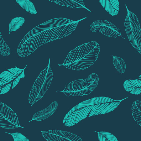 Feathers seamless pattern Illustration