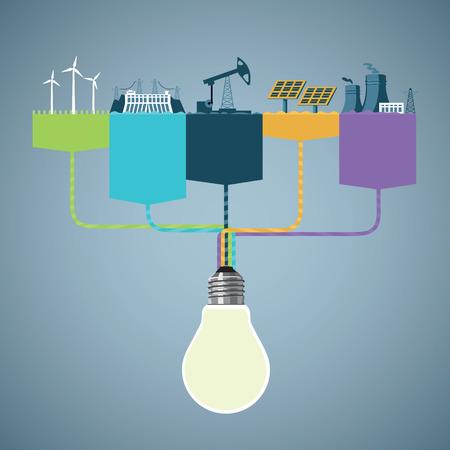 Energieopwekking Infographic Stock Illustratie
