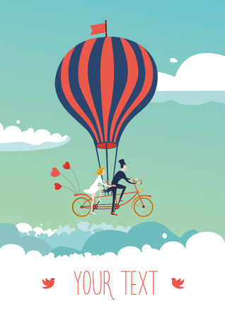 teamwork cartoon: Bike above the clouds. Illustration