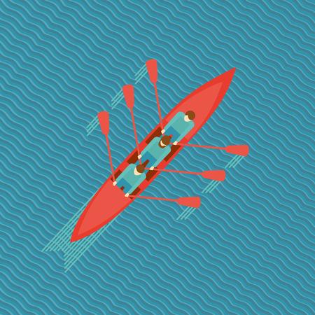 Drie mannen in een boot. Bovenaanzicht van een kano op het water. Flat stijl illustratie.