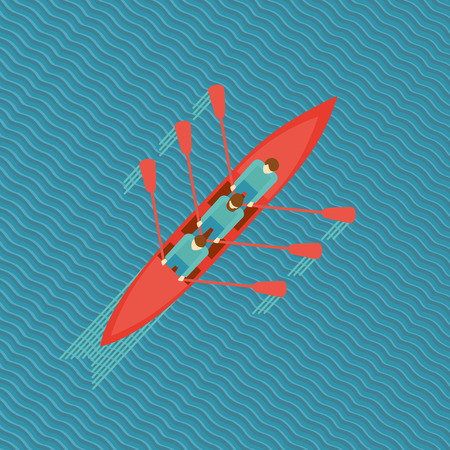 Three men in a boat. Top view of a canoe on water. Flat style illustration.