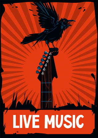 riff: Raven with a guitar. Black crown is seating on a guitar riff. Rock poster template. Illustration