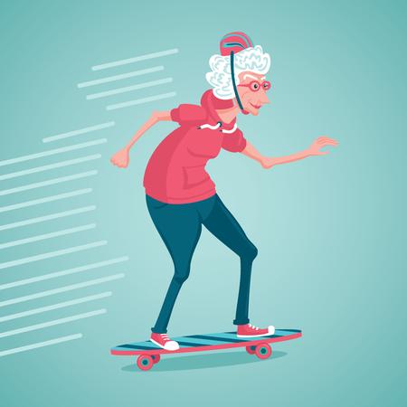 老婆はスケートします。スケートのおばあちゃん。