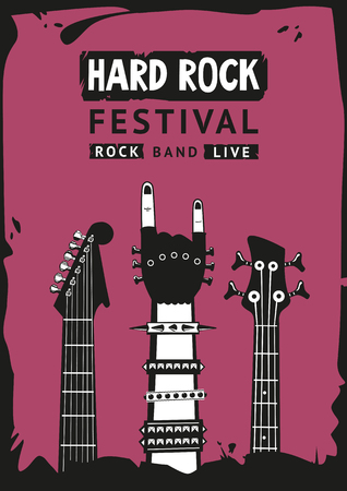 Hard rock festival. Poster template with a hand and guitars. Grunge style.