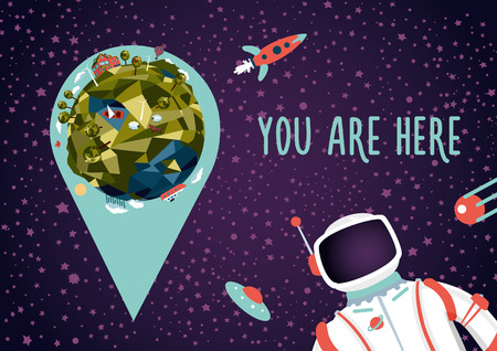 Open space. Earth location in a deep space. Illustration with Earth, astronaut and location marker. You will not get lost.