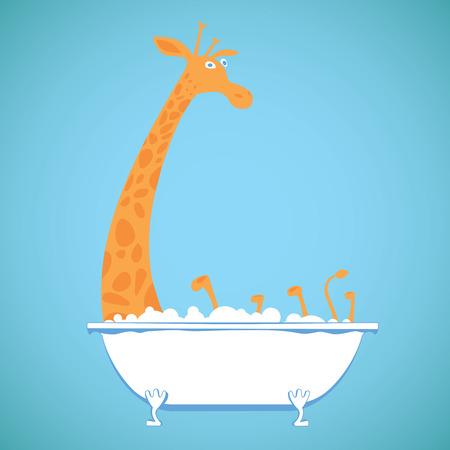 girafe: Funny girafe in bath Illustration