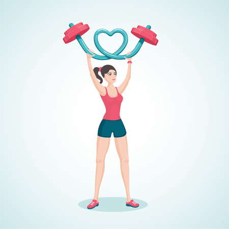 lifting: Young girl lifting a barbell in the shape of a heart.