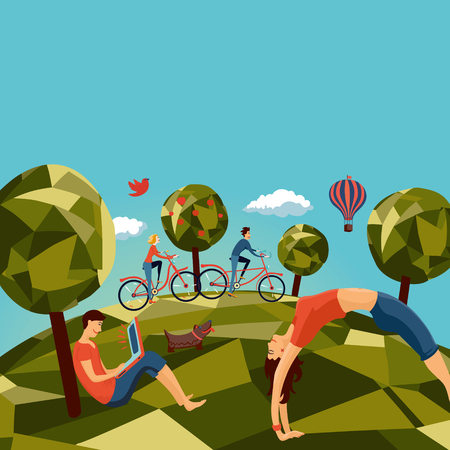 Group of people outdoors Illustration