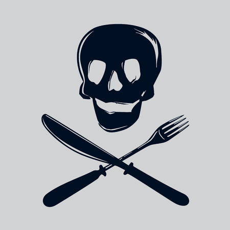 food poison: Skull silhouette with fork and knife. Illustration