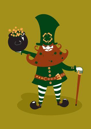 republic of ireland: Leprechaun with stick and pot