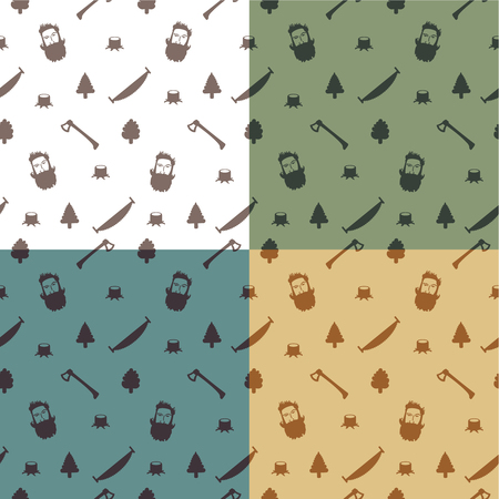 Seamless pattern with woodcutter