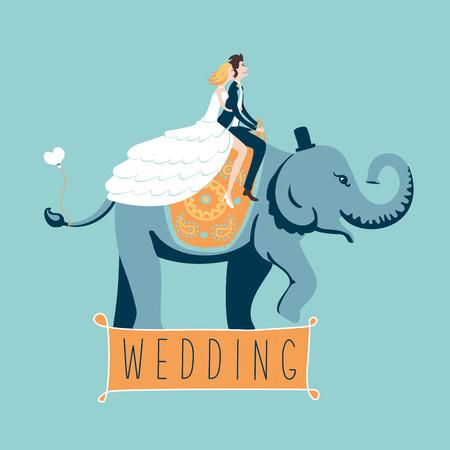 bride and groom background: The wedding elephant