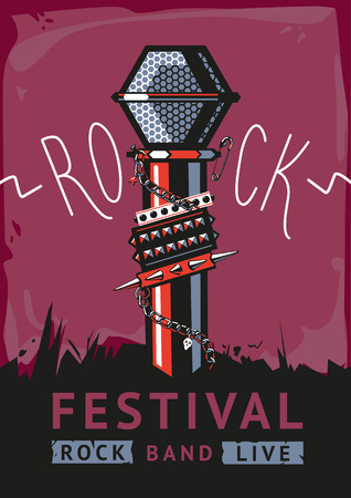 rock: Rock poster with a microphone.