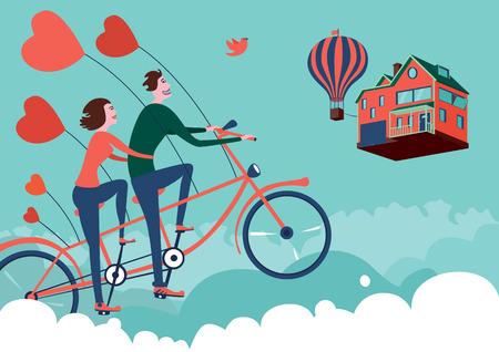 hot couple: Man and woman on sky bike tour Illustration