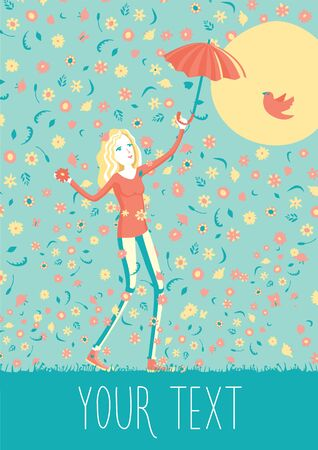 happy woman: Happy young girl with umbrella walking under the flowers rain