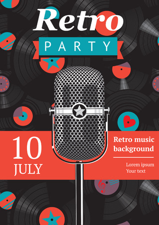 retro party poster Illustration