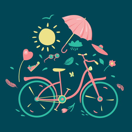 mood: Spring composition with bycicle