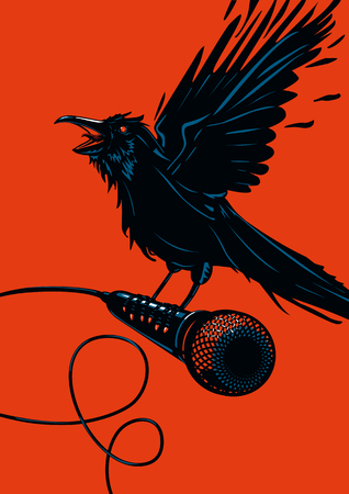 Raven is holding a microphone. Rock illustration for posters. Ilustracja