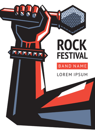 karaoke: Rock festival. Illustration of a hand with a microphone.