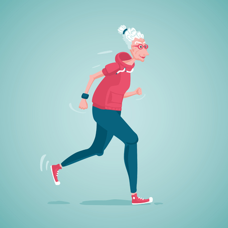 old people: Old lady running Illustration