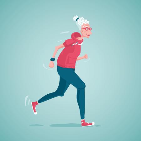 Oude dame running Stock Illustratie