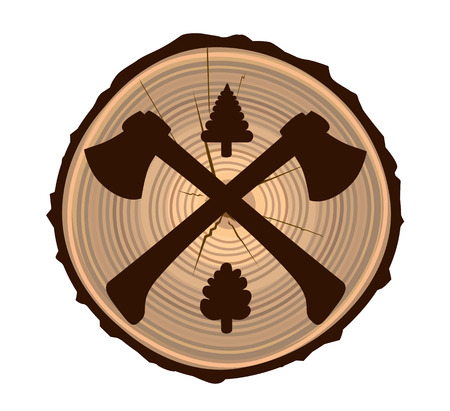 Two axes on wood texture  イラスト・ベクター素材