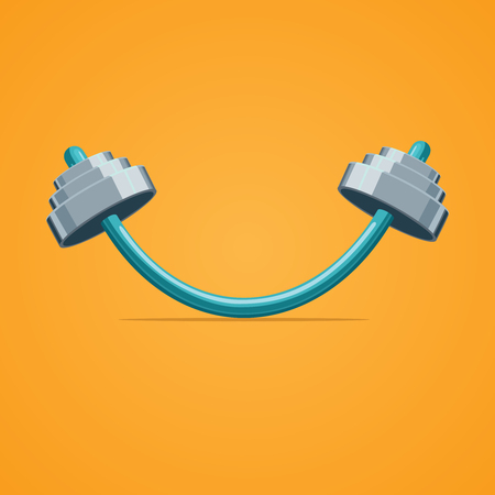 Rod bent in the shape of smile Illustration