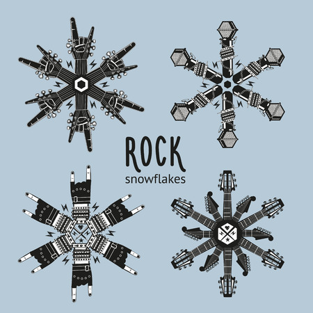 Rock snowflakes set