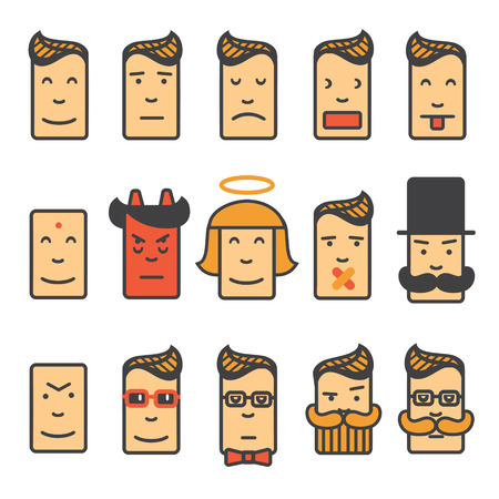 angry angel: Set of square emotion icons with rounded corner Illustration