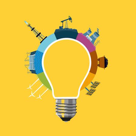 エネルギー生成の概念。電球と発電所の図。